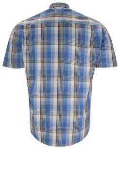 Overhemd met korte mouwen van Melvinsi uitgevoerd in een regular fit model. Blauw geruit overhemd met klassieke kraag. De witte knopen geven een mooi kleur effect. Op de linker borst zit een open borstzak. Het overhemd is rond afgezoomd. Mooi zomers overhemd die u kunt dragen op de warme lente en zomerdagen.