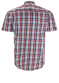 Overhemd met korte mouwen van Melvinsi uitgevoerd in een regular fit model. Rood met blauw geruit overhemd met klassieke kraag. De witte knopen geven een mooi kleur effect. Op de linker borst zit een open borstzak. Het overhemd is rond afgezoomd. Mooi zomers overhemd die u kunt dragen op de warme lente en zomerdagen.