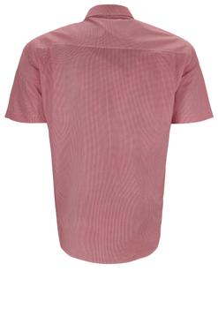 Overhemd met korte mouwen van Melvinsi uitgevoerd in een regular fit model. Rood gestipt overhemd met klassieke kraag. De witte knopen geven een mooi kleur effect. Op de linker borst zit een open borstzak. Het overhemd is rond afgezoomd. Mooi zomers overhemd die u kunt dragen op de warme lente en zomerdagen.