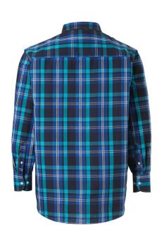 Overhemd met lange mouwen van Melvinsi met linker borstzakje, contrastkleur stof in de boorden en button down kraag.Blauw en Turquoise geblokt motief.