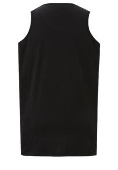 Zwarte tanktop van Melvinsi met leuke print en ronde hals. Zeer multifunctionele tanktop om te dragen, staat leuk op een spijkerbroek of op een joggingbroek als loungewear. Ideaal op de warme dagen of als het iets minder warm is onder een vest.