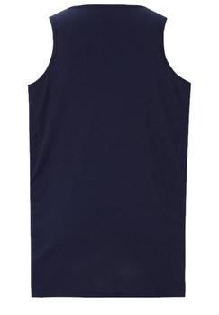 Blauwe tanktop van Melvinsi met leuke print en ronde hals. Zeer multifunctionele tanktop om te dragen, staat leuk op een spijkerbroek of op een joggingbroek als loungewear. Ideaal op de warme dagen of als het iets minder warm is onder een vest.
