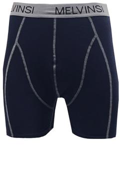 3-pak Heren Boxershorts van Melvinsi met brede elastische tailleband voor een optimale pasvorm. U ontvangt 1 navy, 1 grijs en 1 zwarte boxershort met grijze stiksels en grijze band.