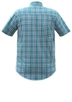Overhemd met korte mouwen van Melvinsi uitgevoerd in een regular fit model. Blauw geblokt overhemd met button kraag en witte knopen. Op de linker borst zit een open borstzakje met logo. Het overhemd is rond afgezoomd. Mooi zomers overhemd die u kunt dragen op de warme lente en zomerdagen.