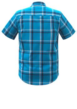 Overhemd met korte mouwen van Melvinsi uitgevoerd in een regular fit model. Blauw geruit overhemd met button down kraag en witte knopen. Op de linker borst zit een open borstzakje met logo. Het overhemd is rond afgezoomd. Mooi zomers overhemd die u kunt dragen op de warme lente en zomerdagen.