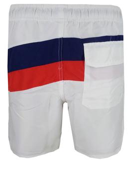 Erg mooie zwemshort van het merk Royal Berkshire die opvalt door haar schuine strepen op de voor- en achterkant. De broek heeft twee steekzakken en een achterzak met klepje en klittenband. De elastische tailleband, het erin verwerkte koord en de binnenslip geven de broek een aangename zit.