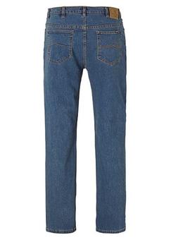 Blauwe stretch jeans van Rockford in een Straight Leg model, voorzien van een knoop- en ritssluiting, 2 steekzakken aan de voorzijde, waarvan 1 met een muntzakje en twee ruime achterzakken met contrasterend stiksel.