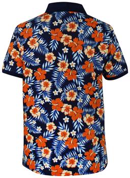 Zomers Poloshirt van D555 in een donkerblauwe uitvoering met een frisse bloem print. Dit shirt is ideaal te combineren met diverse soorten jeans en shorts. Perfect voor het voorjaar- en zomerseizoen.