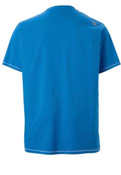 Een erg leuk, zomers blauw t-shirt van D555 met een wit-zwarte print en ronde hals. Dit shirt is ideaal te combineren met diverse soorten jeans en shorts. Perfect voor het voorjaar- en zomerseizoen.