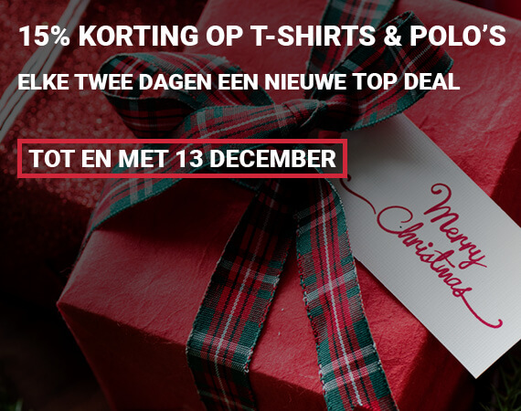 15% korting op alle t-shirts en polo's!