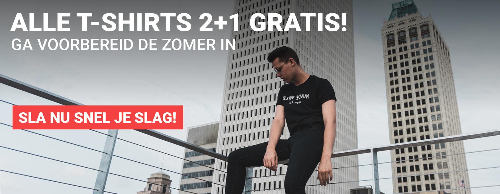 Alle T-shirts 2+1 gratis!