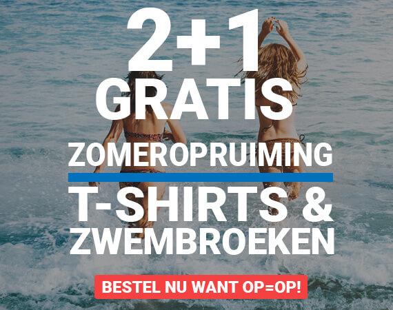 2+1 gratis! Zomeropruiming op T-shirts en zwembroeken!