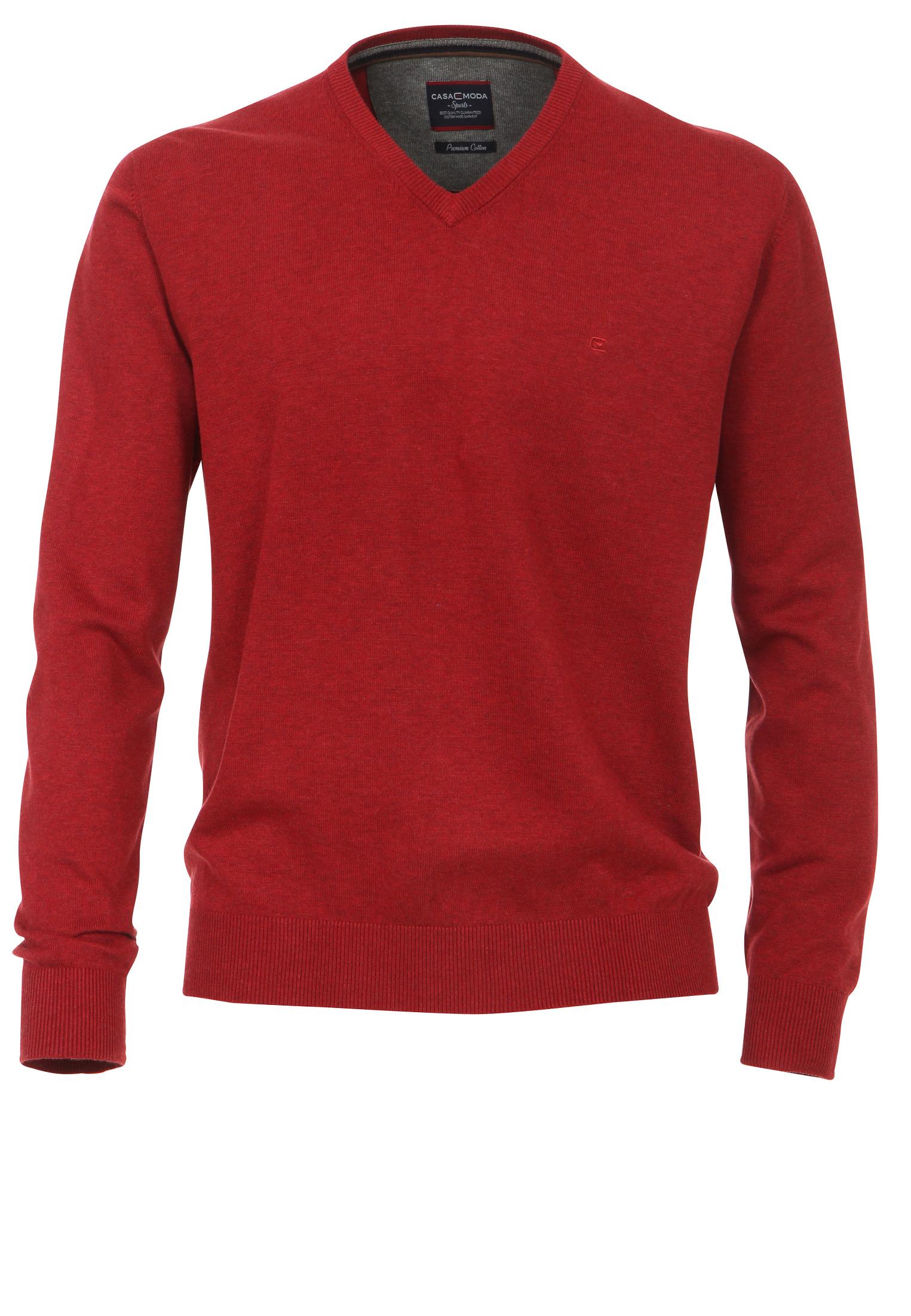 Fijn gebreide rode effen trui van Casa Moda met V-hals. Deze dunne trui heeft een elastische tailleband wat zorgt voor een mooie pasvorm. Dit multifunctionele artikel kan casual op een spijkerbroek gedragen worden of zakelijk over een overhemd op een pantalon. Een heerlijke comfortabele trui om te dragen.