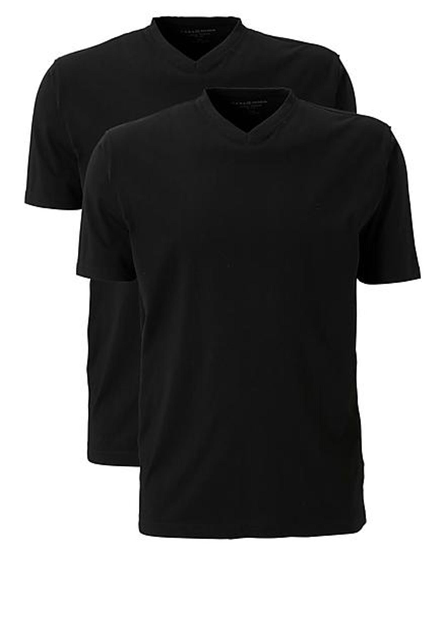 Dubbelpack t-shirt met v-hals en korte mouwen. Perfect voor onder een overhemd of gewoon als t-shirt. Soepel vallend katoen dat zacht aanvoeld.