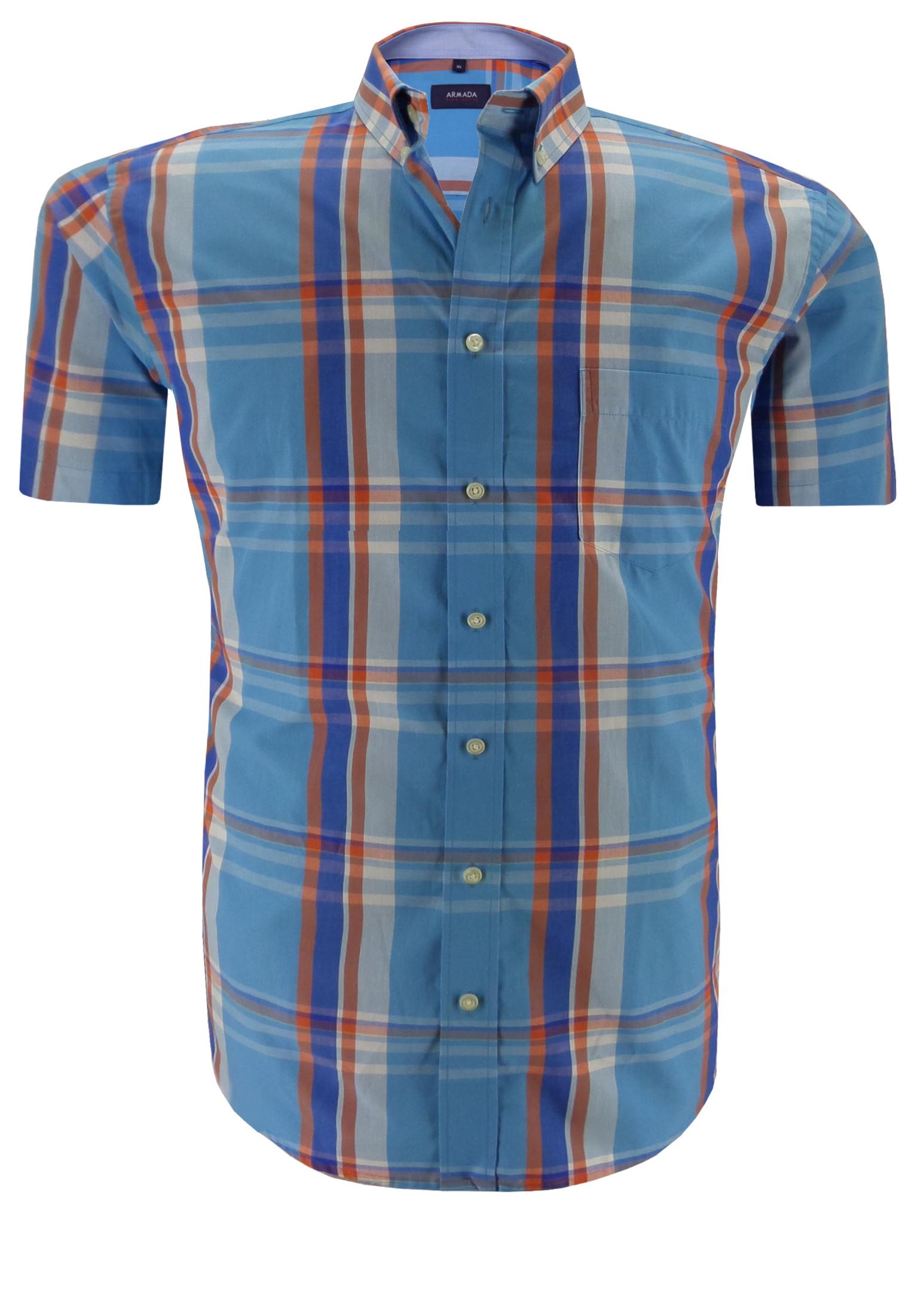 Klassiek, kleurrijk, geruit overhemd van het merk Armada, met een open borstzakje op de linker borst, een buttondown kraag en een effen stof in de binnenkraag.Het overhemd is rond afgezoomd.