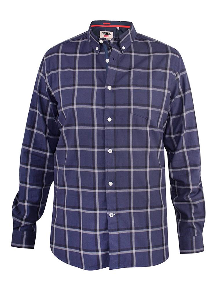 """Overhemd """"Townsville"""" van merk D555 in de kleur navy check, gemaakt van 100% katoen."""