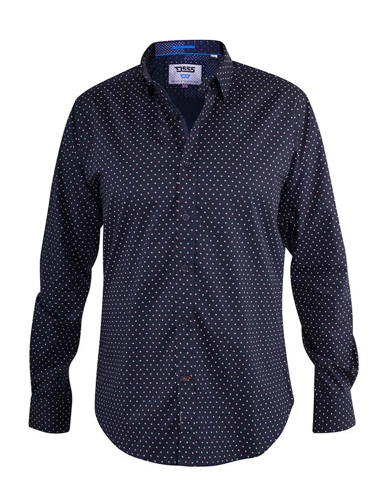"""overhemd """"Adelaide"""" van merk D555 in de kleur navy met een fijn printje, gemaakt van 100% katoen."""