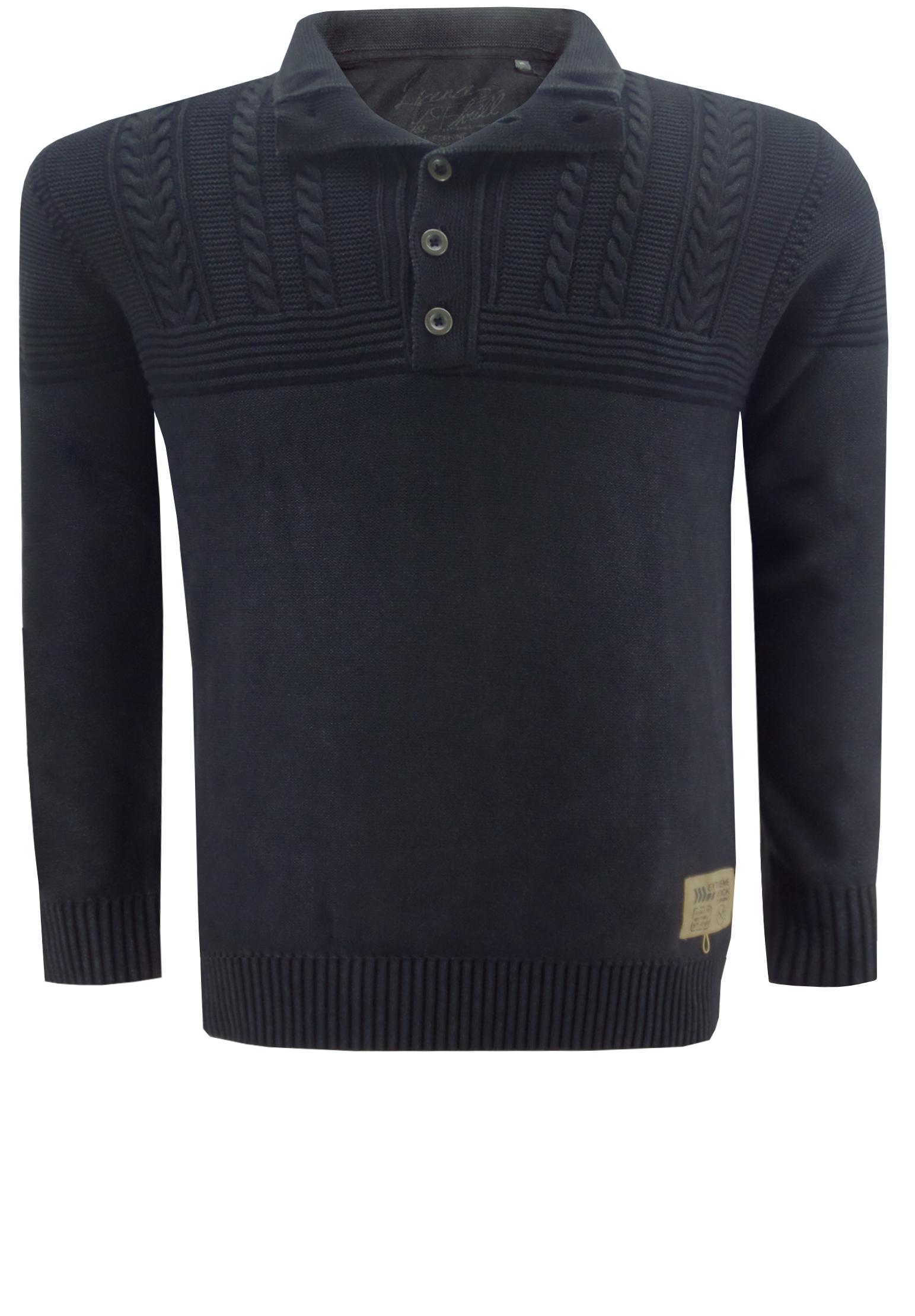 Stoere trui van Kitaro met een fijn gebreide onderkant en een grof gebreide bovenkant met kabelmotief, een 5-knooplijst aan de dubbele kraag, een embleem links aan de zoom en elastisch rib-breisel aan de boorden van de mouwen en aan de zoom.