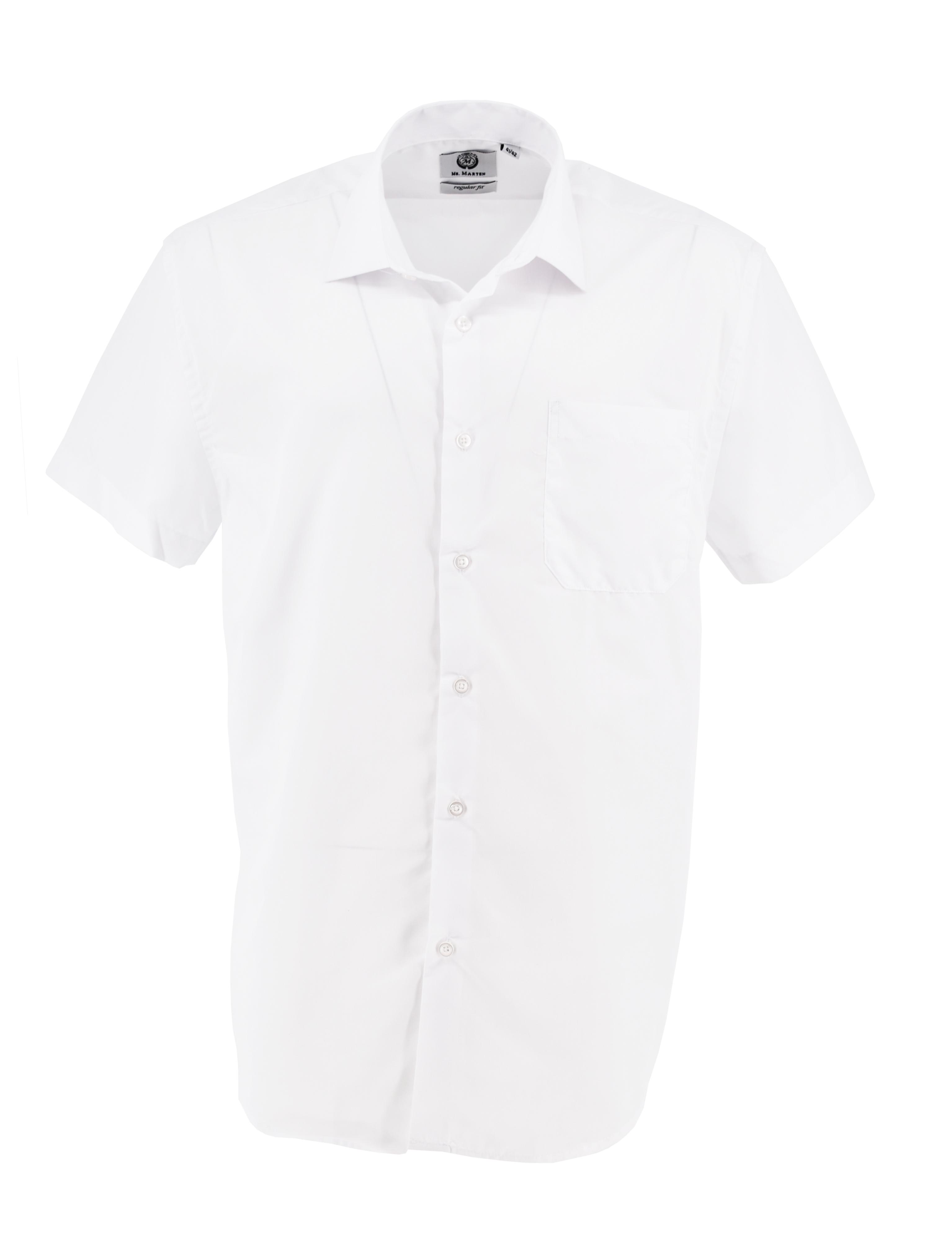 Mooi wit overhemd met korte mouwen van Mr. Marten. Borstzakje op de linkerborst.