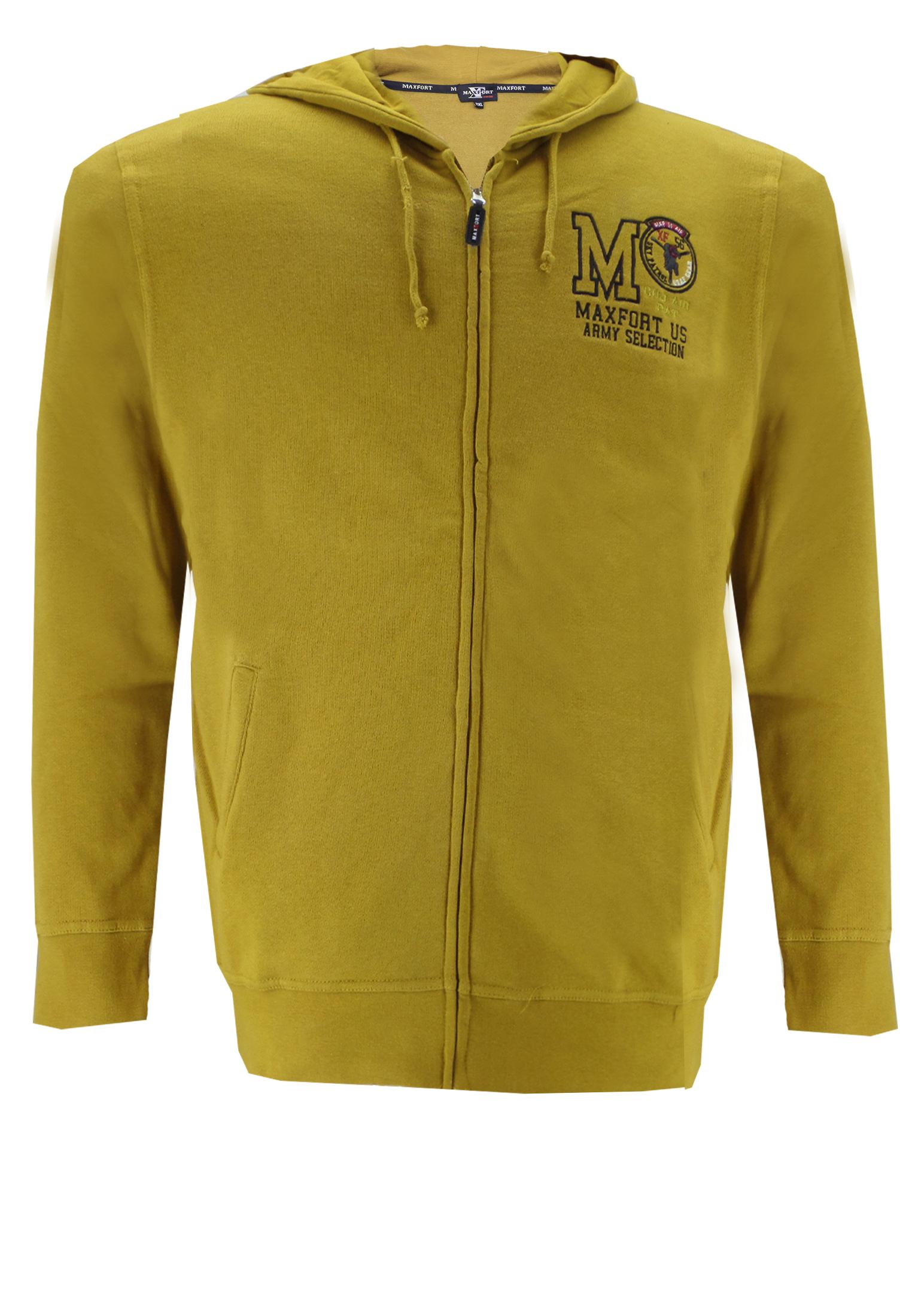 Wilt u eens een andere kleur, ga dan voor dit Maxfort Sweatvest met capuchon. Dit sportieve vest heeft 2 steekzakken aan de voorkant, elastische boorden aan de mouwen en zoom en een geborduurde print op de linkerborst.