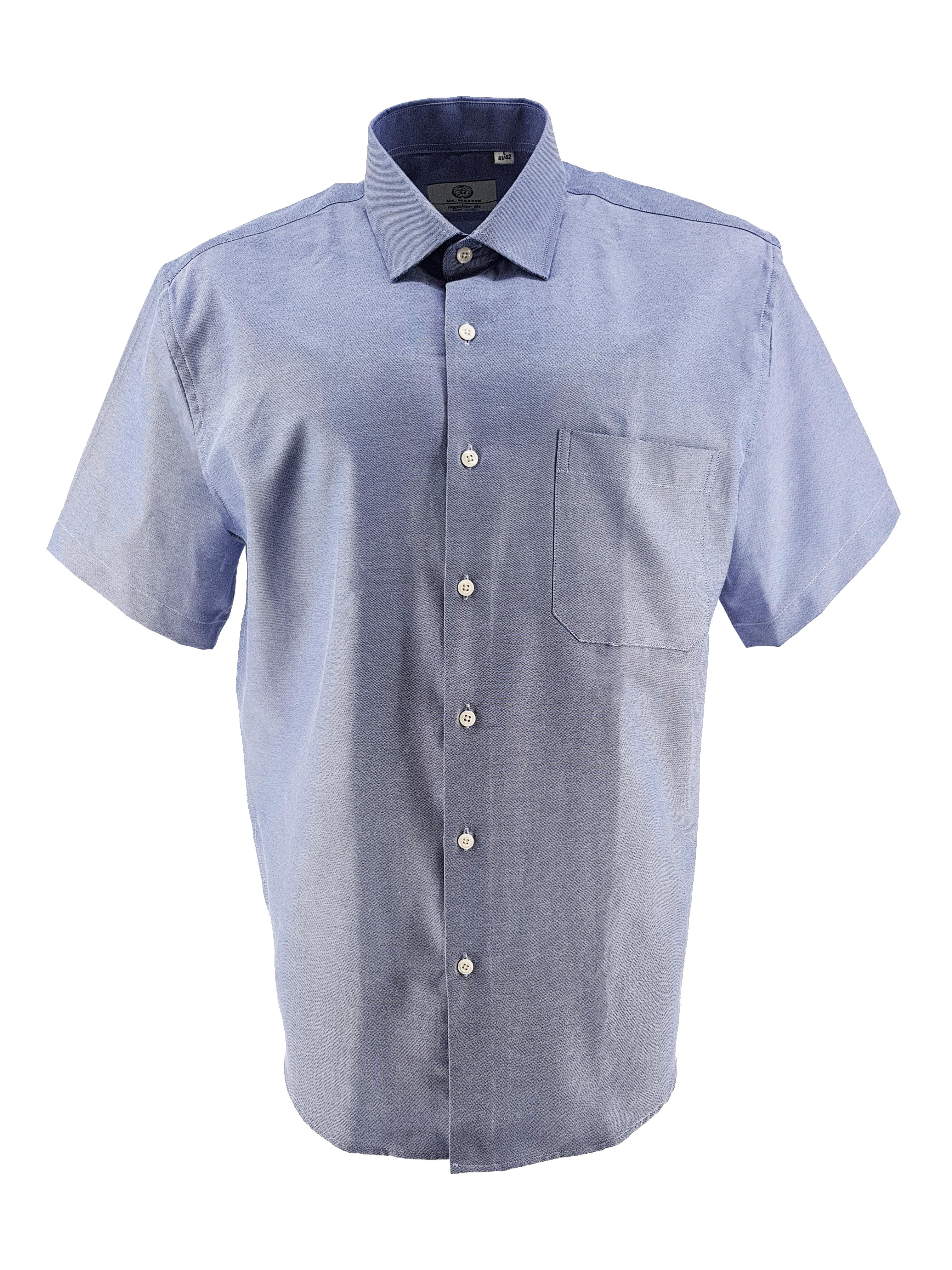 Easy care overhemd van Mr. Marten. Korte mouwen, borstzakje op de linkerborst. Mooie fijne lichtblauwe stof.