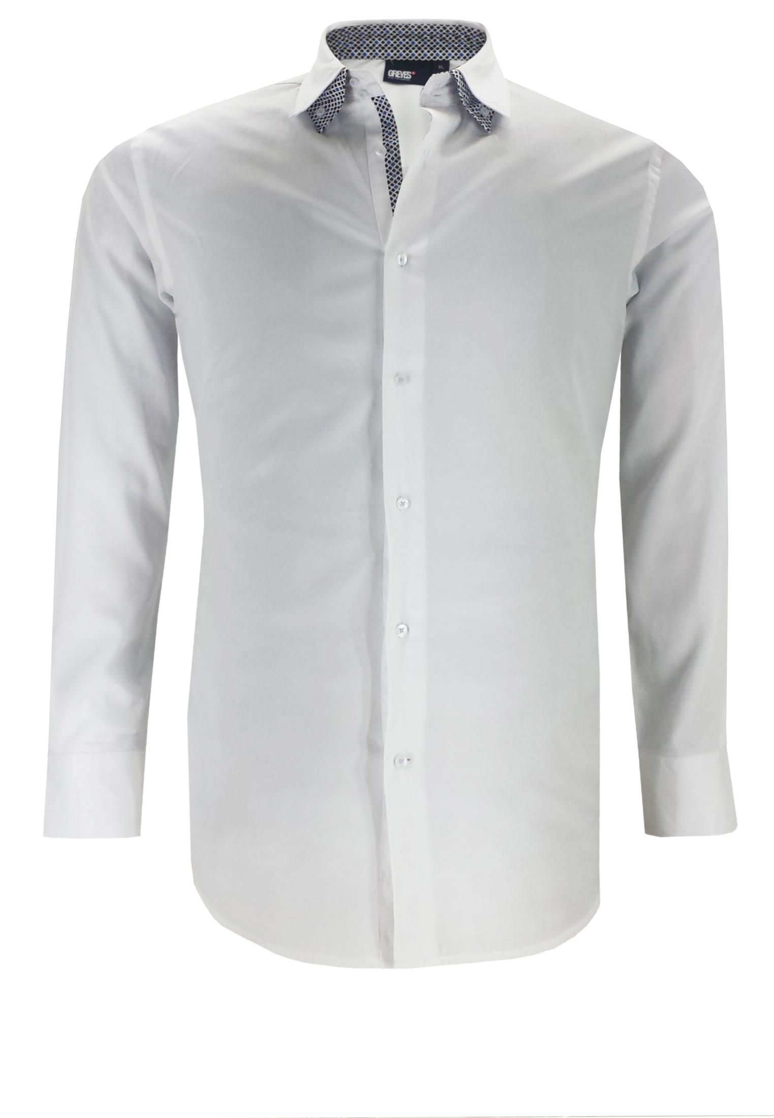 Greyes overhemd met buttondown kraag, stijlvolle contrasterende elementen aan de binnenkraag en de knooplijst en contrasterende stiksel bij de knoopjes.