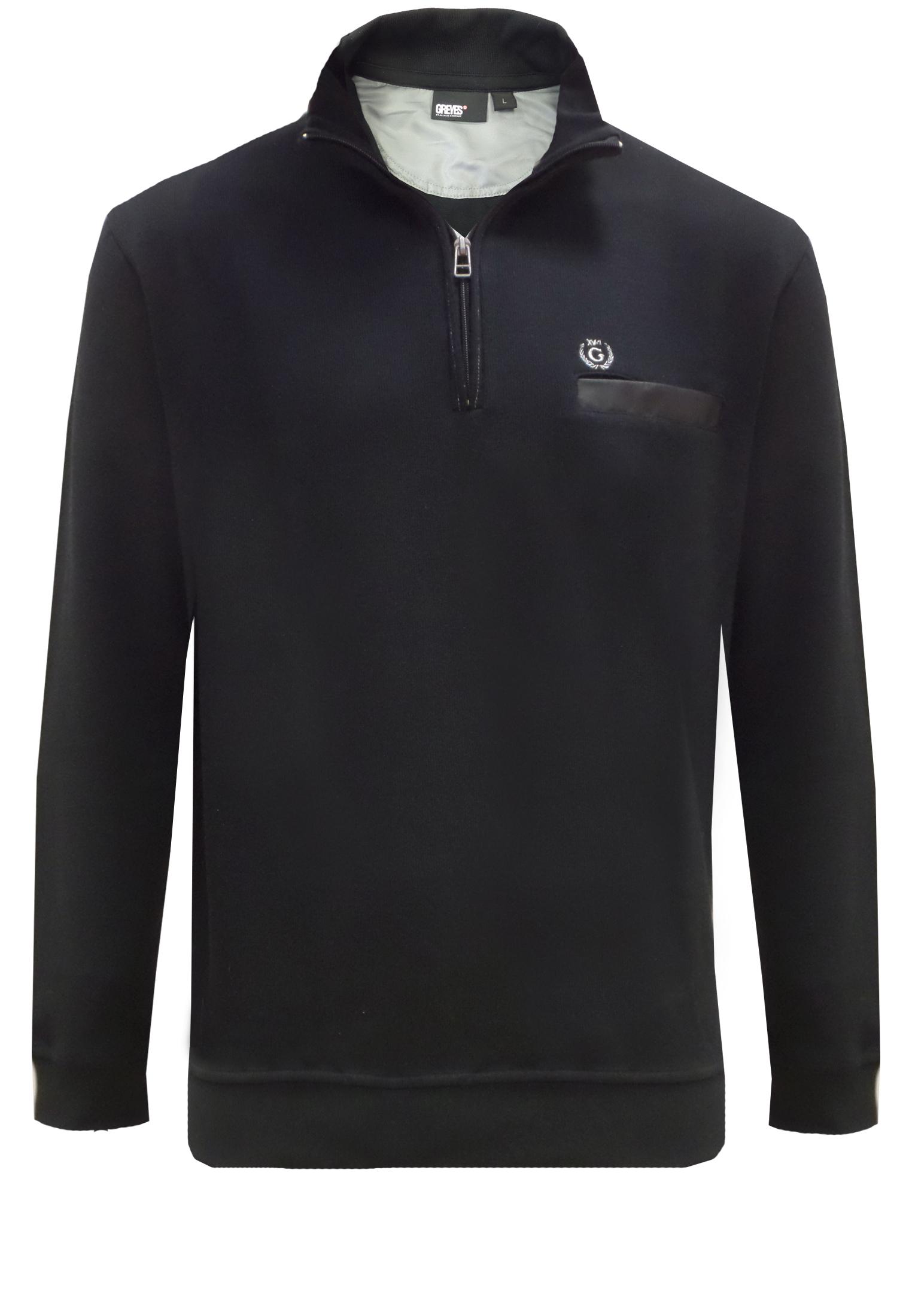 Greyes sweater met een korte ritssluiting die doorloopt tot in de staande kraag, borstzakje met klittenbandsluiting en een klein logo op de linker voorkant. Elastische mouwboordjes en zoom.