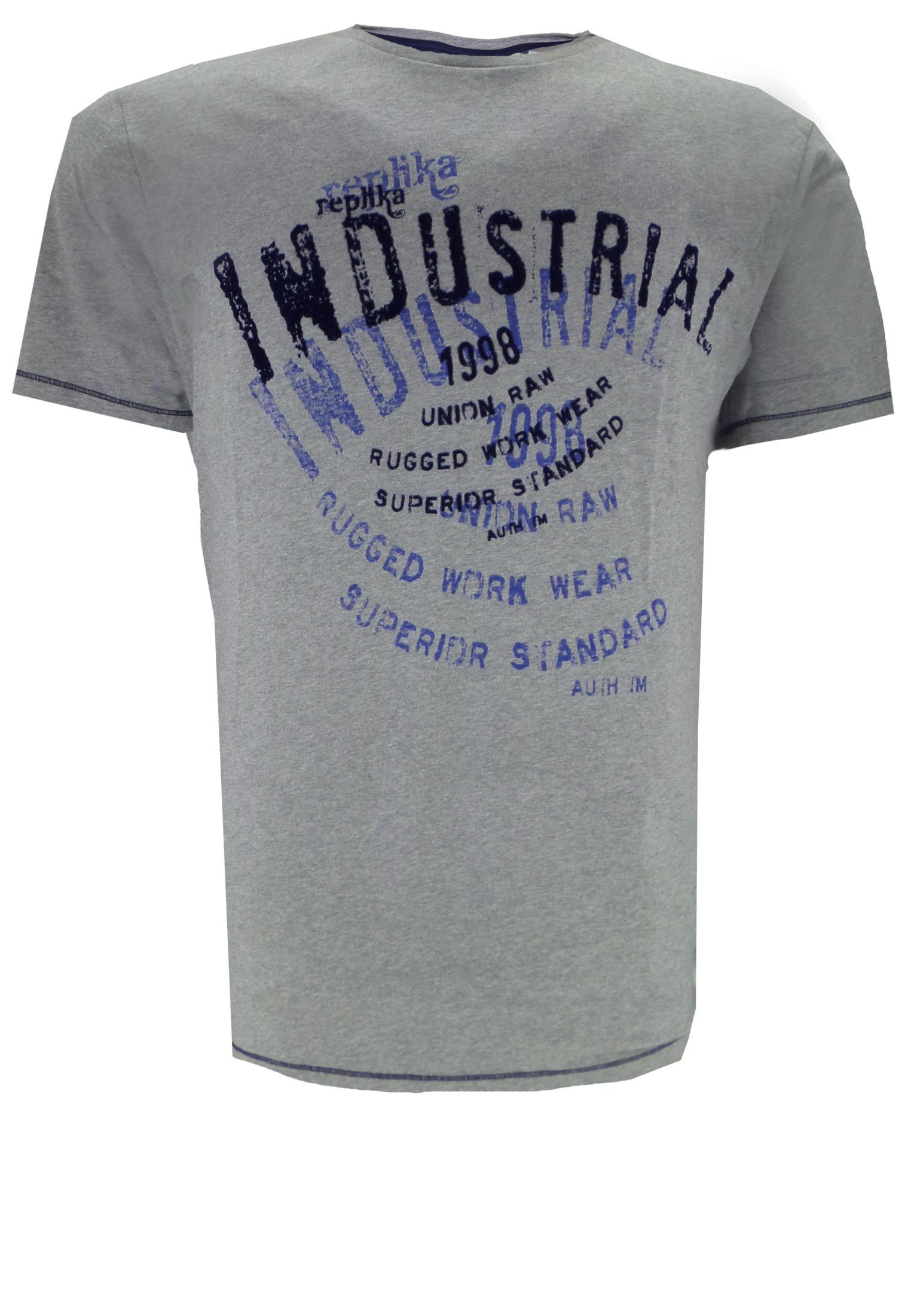 Replika T-shirt met ronde hals, gekleurde print op de voorzijde en contrasterende stiksels.
