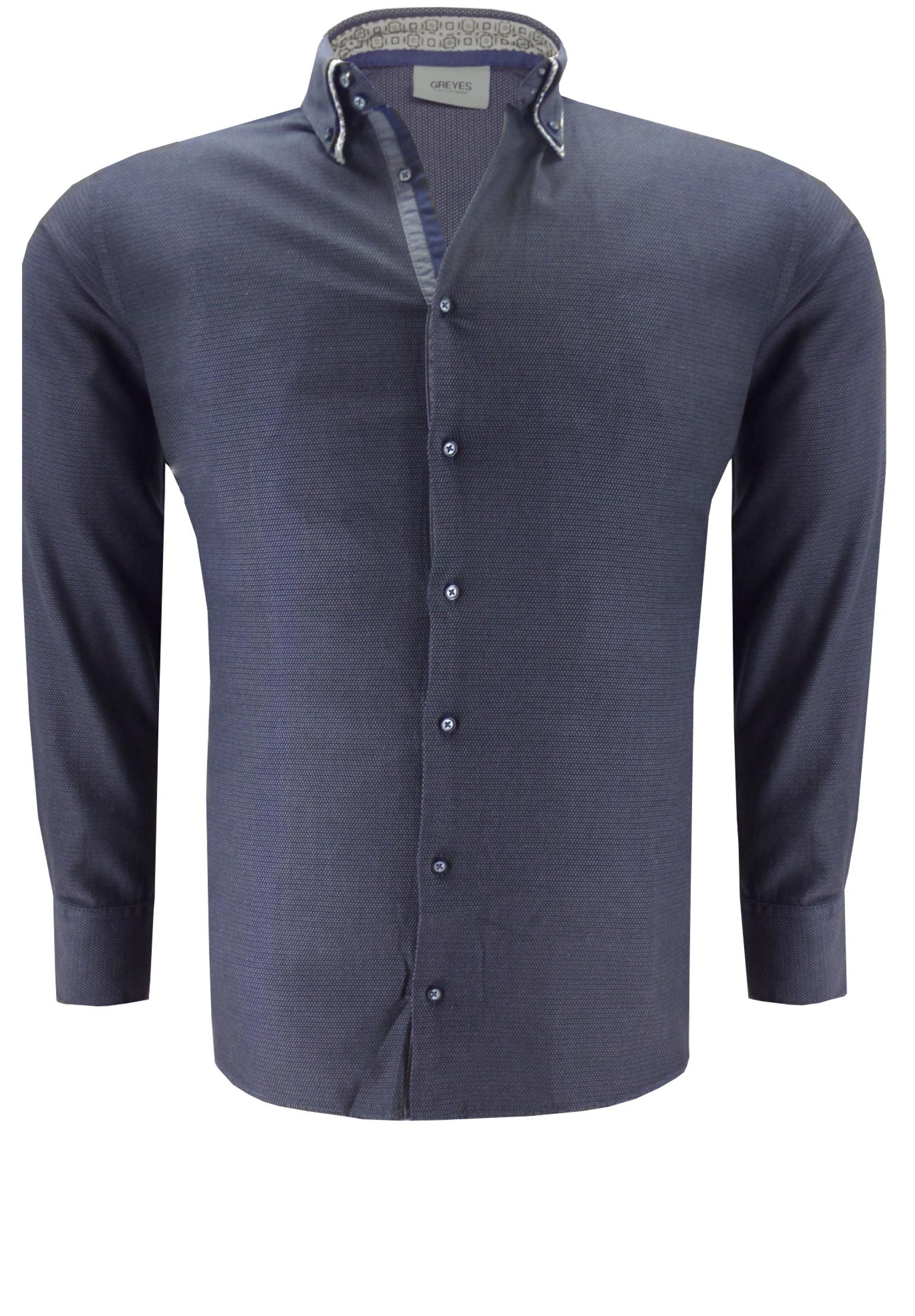 Greyes overhemd met een dubbele buttondown kraag, stijlvolle contrasterende accenten aan de kraag en de knooplijst.