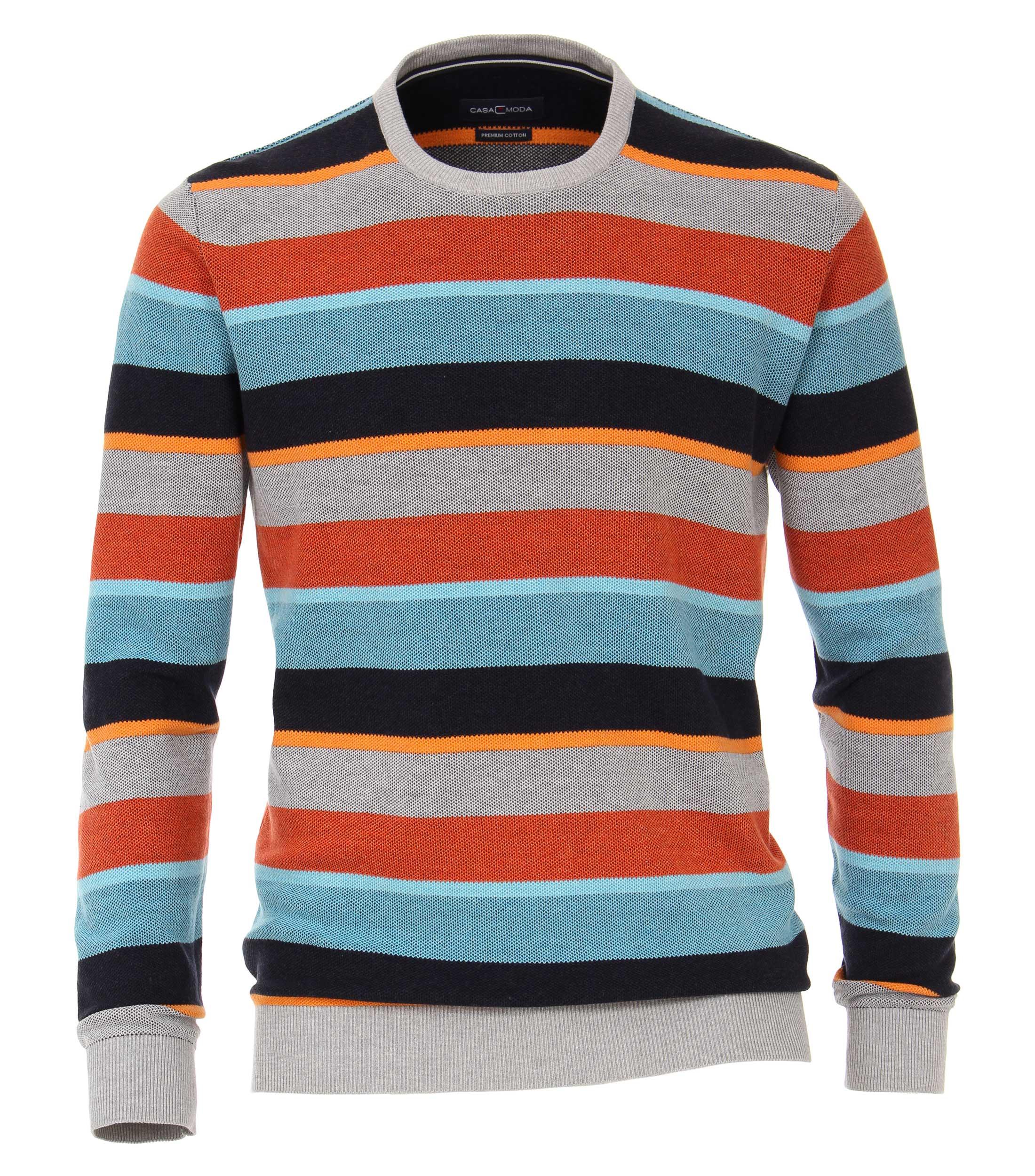 pullover van merk Casa Moda in de kleur oranje, gemaakt van 90% katoen 10% polyamide.
