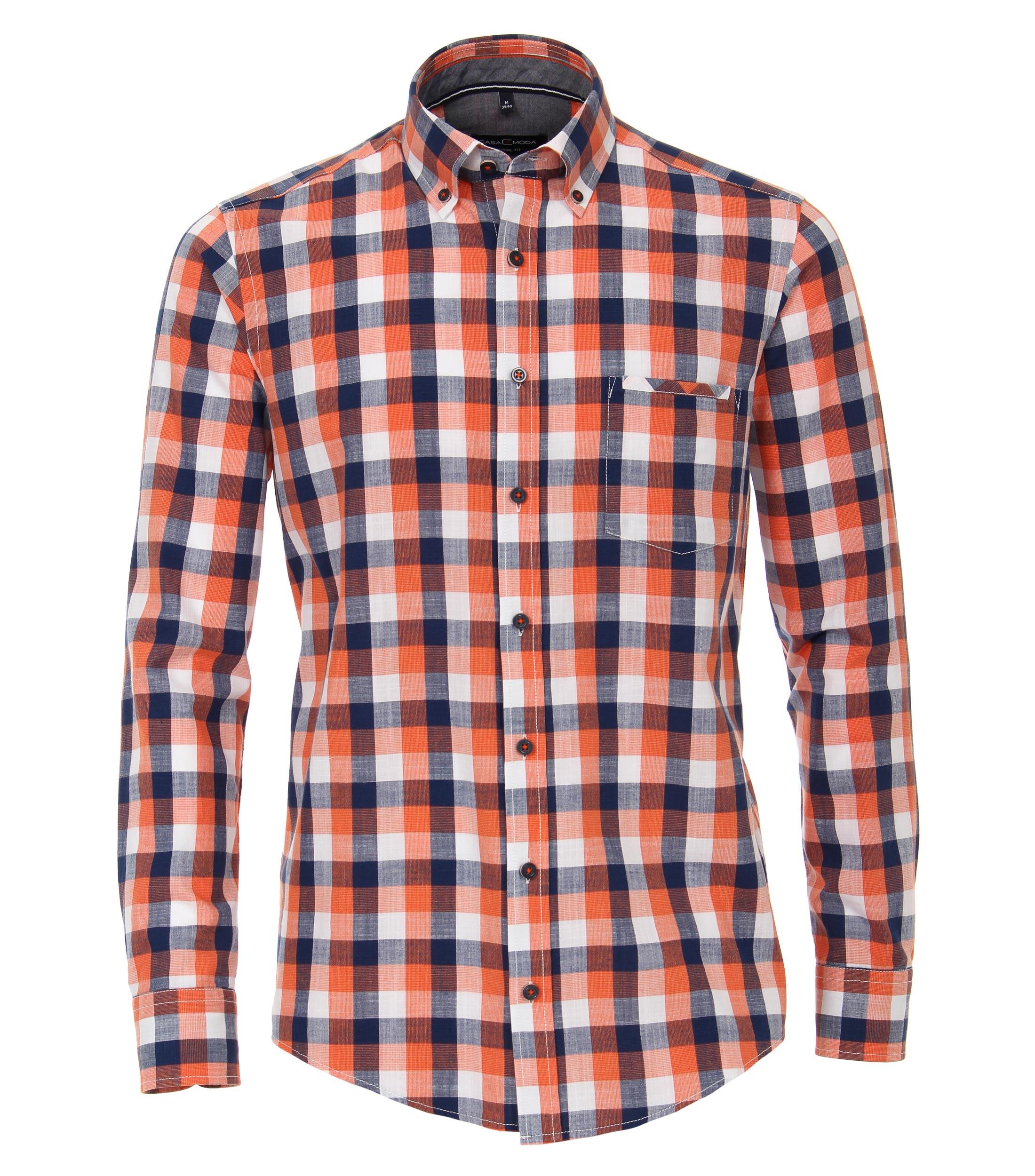 Casual overhemd van merk Casa Moda in de kleur oranje, gemaakt van 100% katoen.