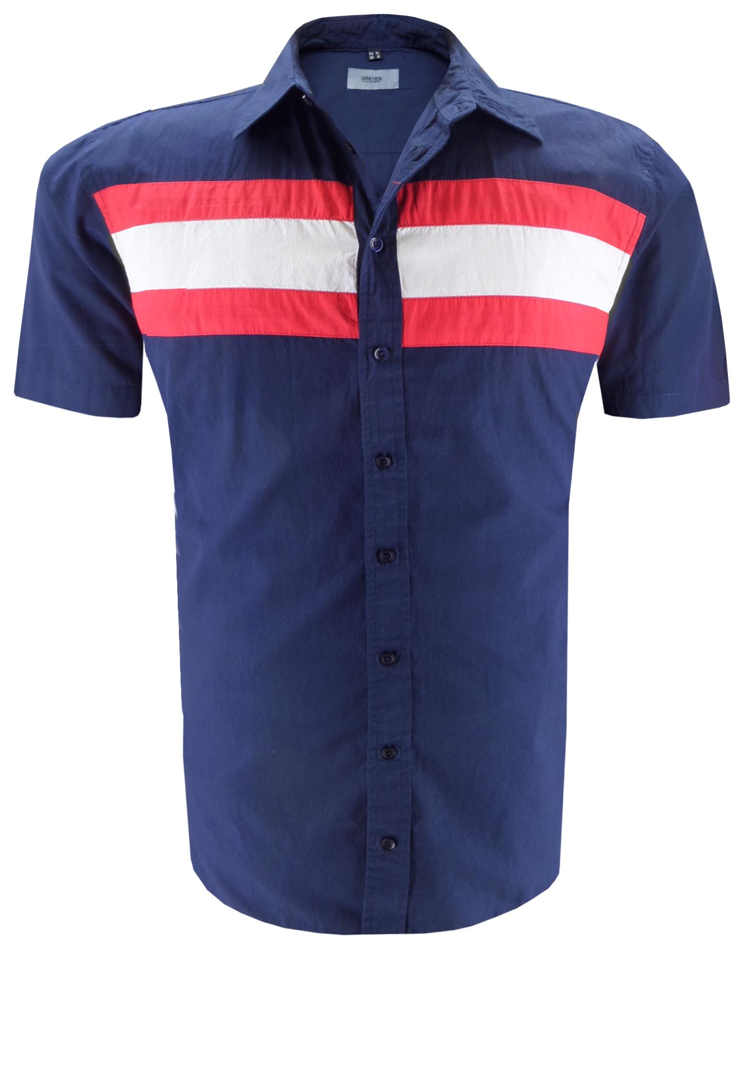 Effen Greyes overhemd met contrasterende strepen over de borst, een klassieke kraag en speels afgewerkte zij-splitten. Het overhemd is rond afgezoomd.