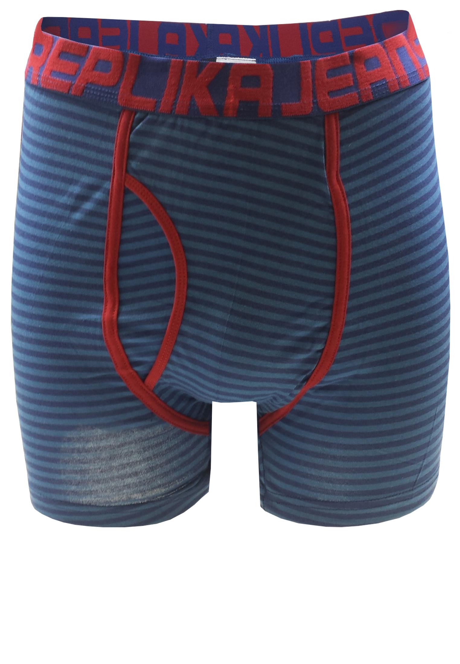 Gestreepte Replika boxershort met een contrasterende stof langs het verstevigde kruis met gulp, een embleem aan de zoom van de rechter pijp en een brede elastische tailleband met merklogo voor een optimale pasvorm.