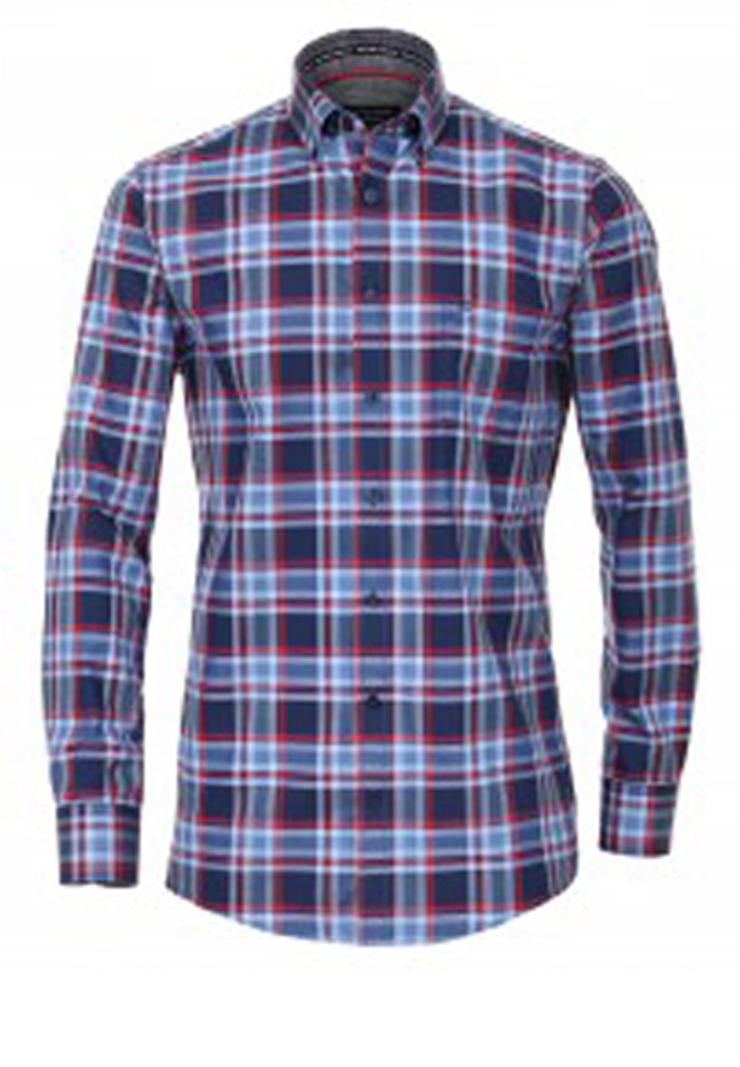 Overhemd met lange mouwen van Casa Moda met linkerborstzakje, contrastkleur stof in de boorden en button down kraag. Blauw-rood geblokt motief.