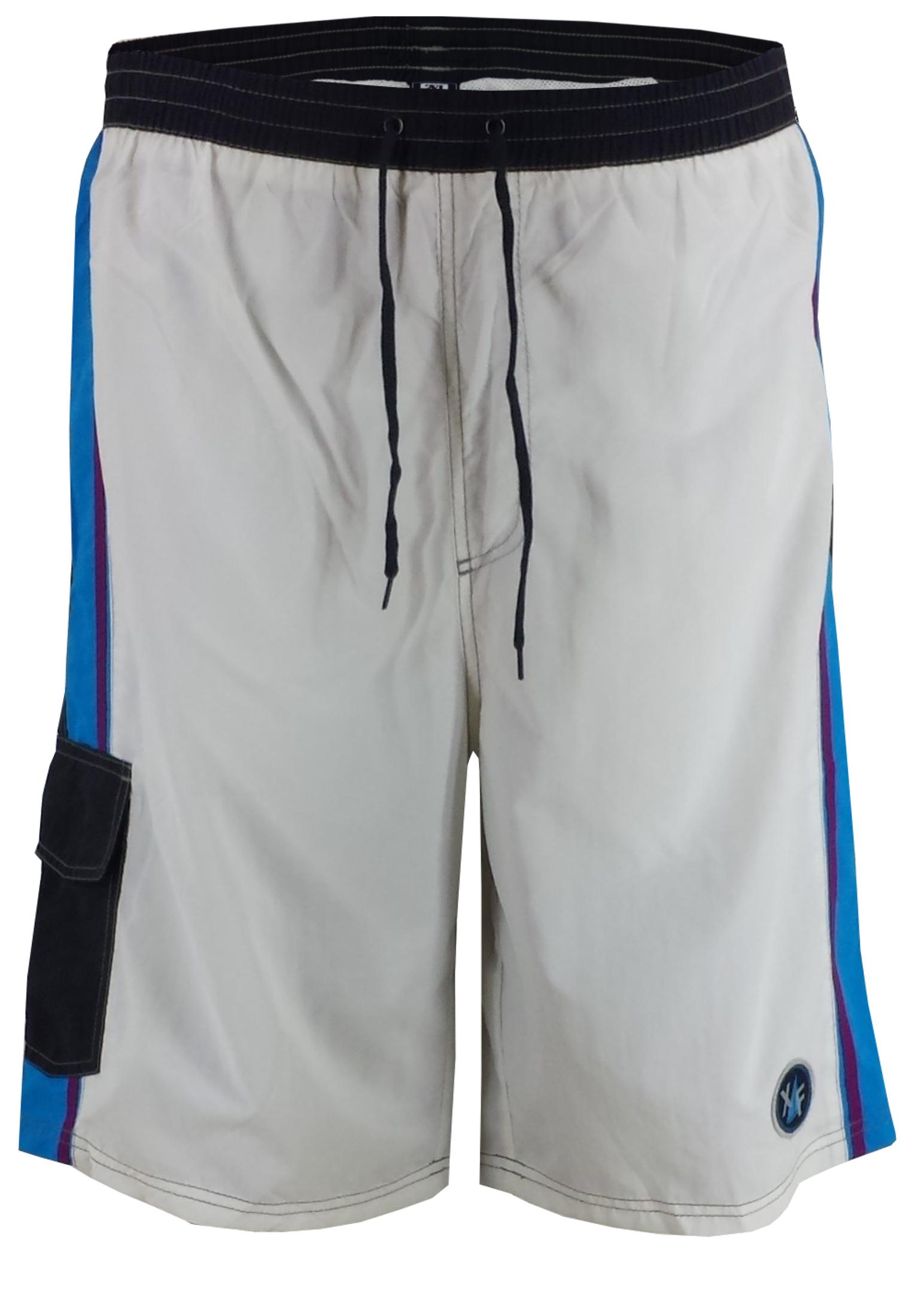 Kleurrijke zwemshort voorzien van een touwtje in de elastische tailleband, een met klittenband afsluitbare zak op het rechter been en een embleem aan de zoom van de linker pijp.Het zwemshort is voorzien van een binnenslip van net-materiaal.