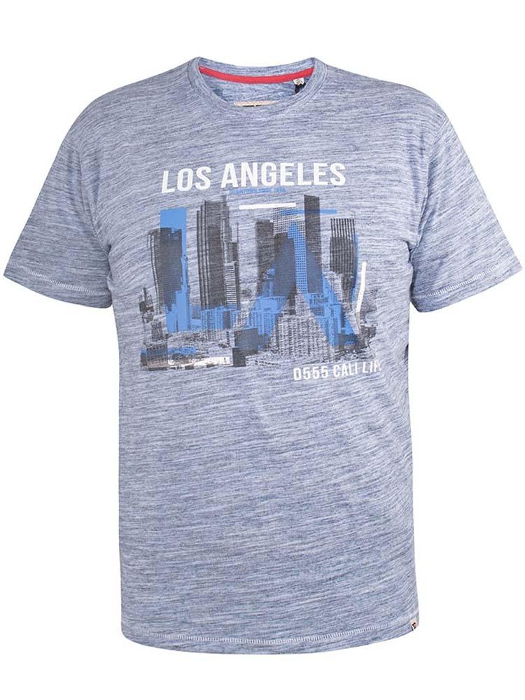 """T-Shirt """"Hobart"""" van merk D555 in de kleur blue reno, gemaakt van poly-cotton."""