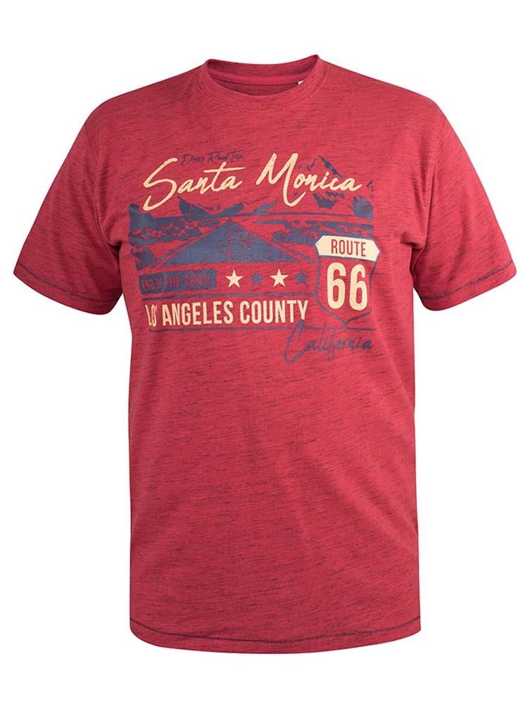 """T-Shirt """"Route 66"""" van merk D555 in de kleur red reno, gemaakt van poly-cotton."""