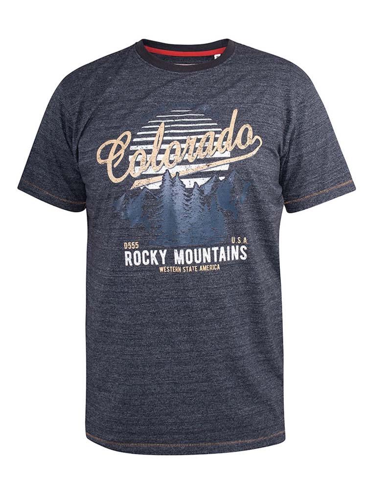 """T-Shirt """"Colorado"""" van merk D555 in de kleur navy fine stripe, gemaakt van cotton-poly."""