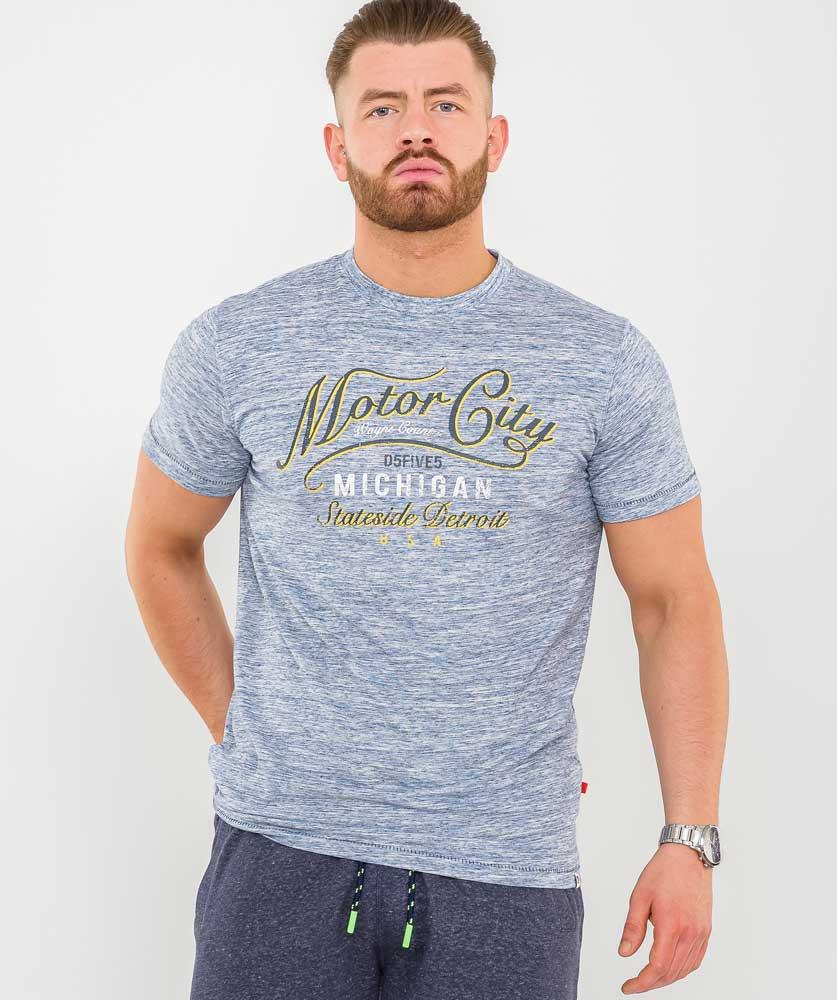 """T-Shirt """"Stirling"""" van merk D555 in de kleur blue reno, gemaakt van organic cotton/polyester."""