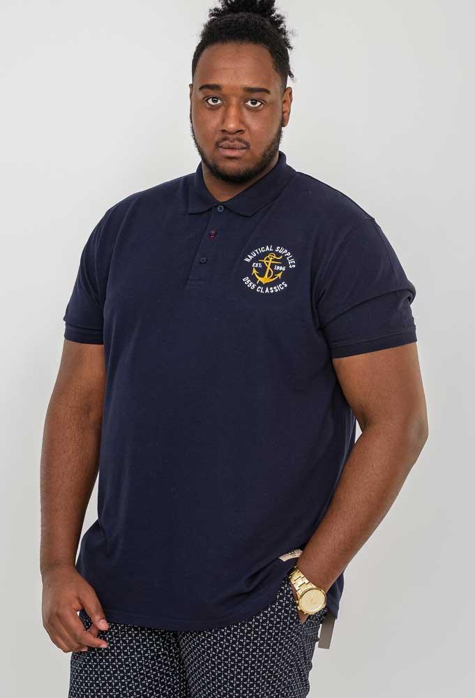 """Polo shirt """"Jefferson"""" van merk undefined in de kleur navy, gemaakt van organic cotton."""