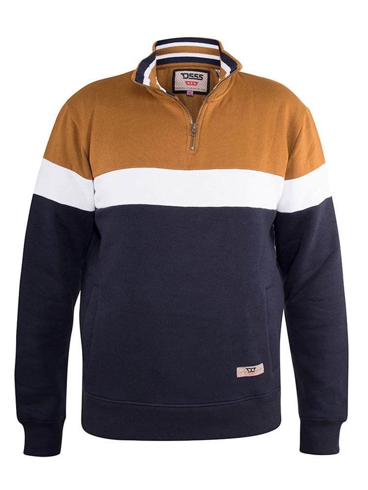 """sweatshirt """"Winston"""" van merk D555 in de kleur tan/navy."""