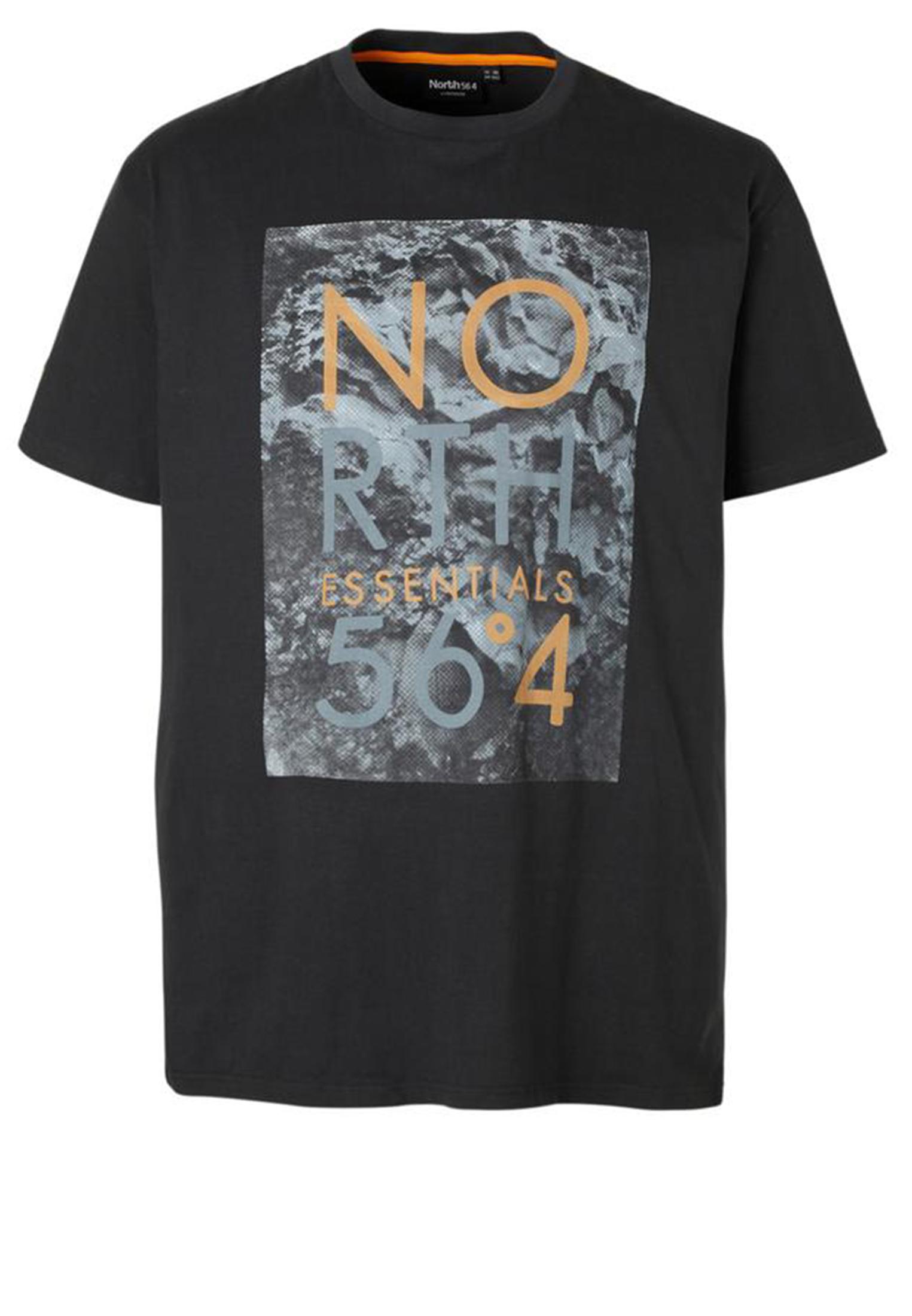 Stoer T-shirt met print en ronde hals van het merk North 56°4. Zwart shirt met grijs bruine print, staat erg leuk op een spijkerbroek.