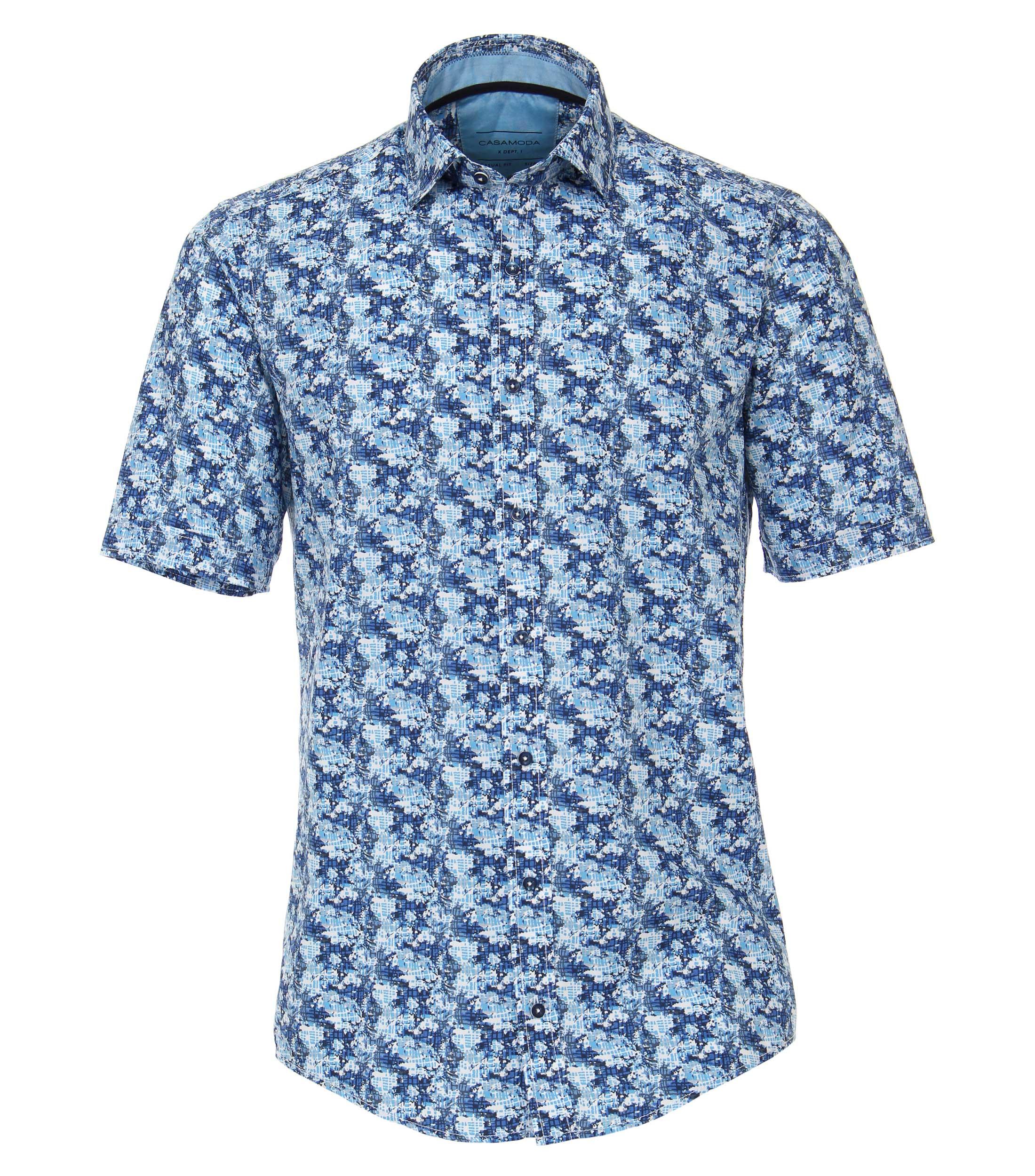 leisure overhemd met print van merk Casa Moda in de kleur blauw, gemaakt van 100% katoen.