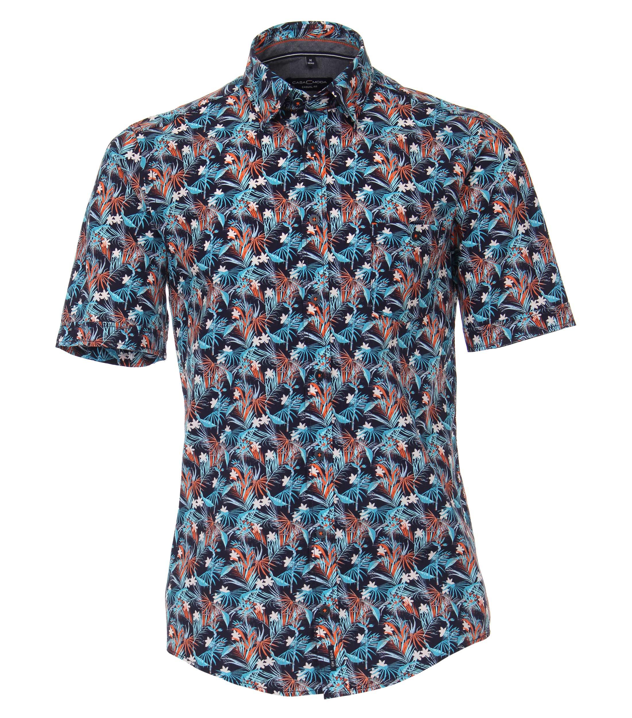 casual overhemd met print van merk Casa Moda in de kleur oranje/blauw, gemaakt van 100% katoen.