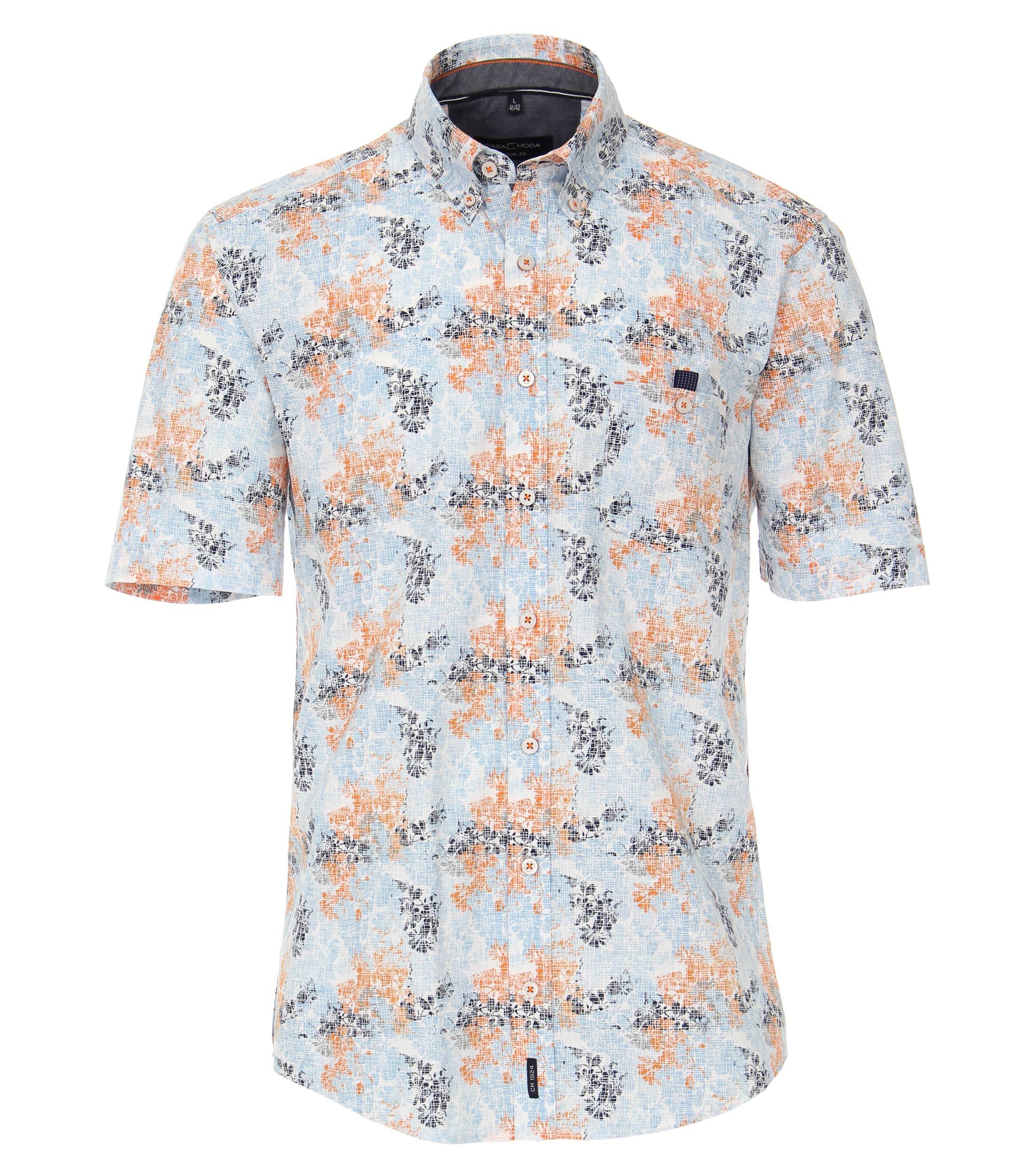 """Leisure shirt van merk Casa Moda, """"linnen look"""" in de kleur lichtgrijs met oranje, gemaakt van 100% katoen."""