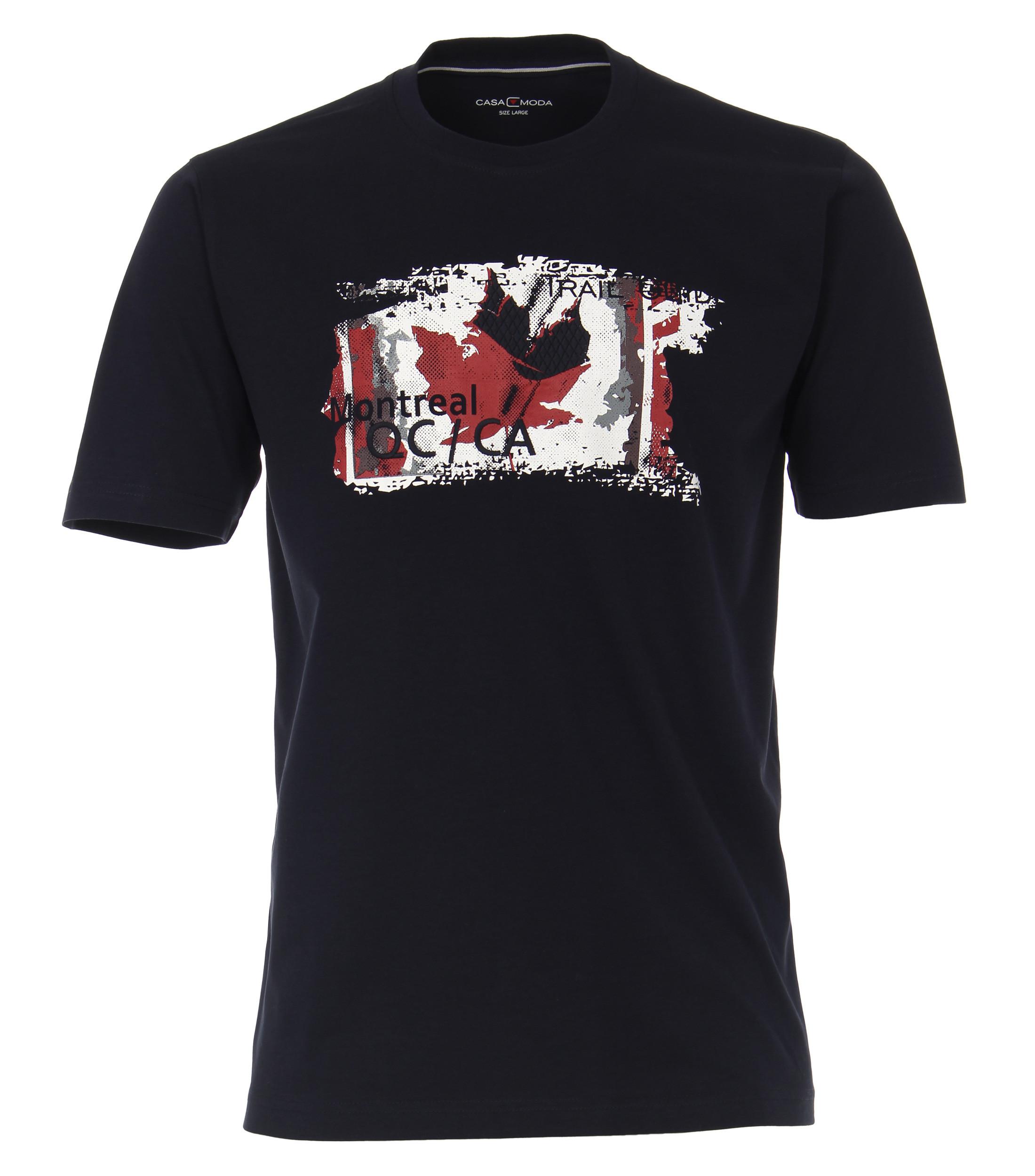 """T-Shirt """"Montreal"""" van merk Casa Moda in de kleur blauw, gemaakt van 100% katoen."""