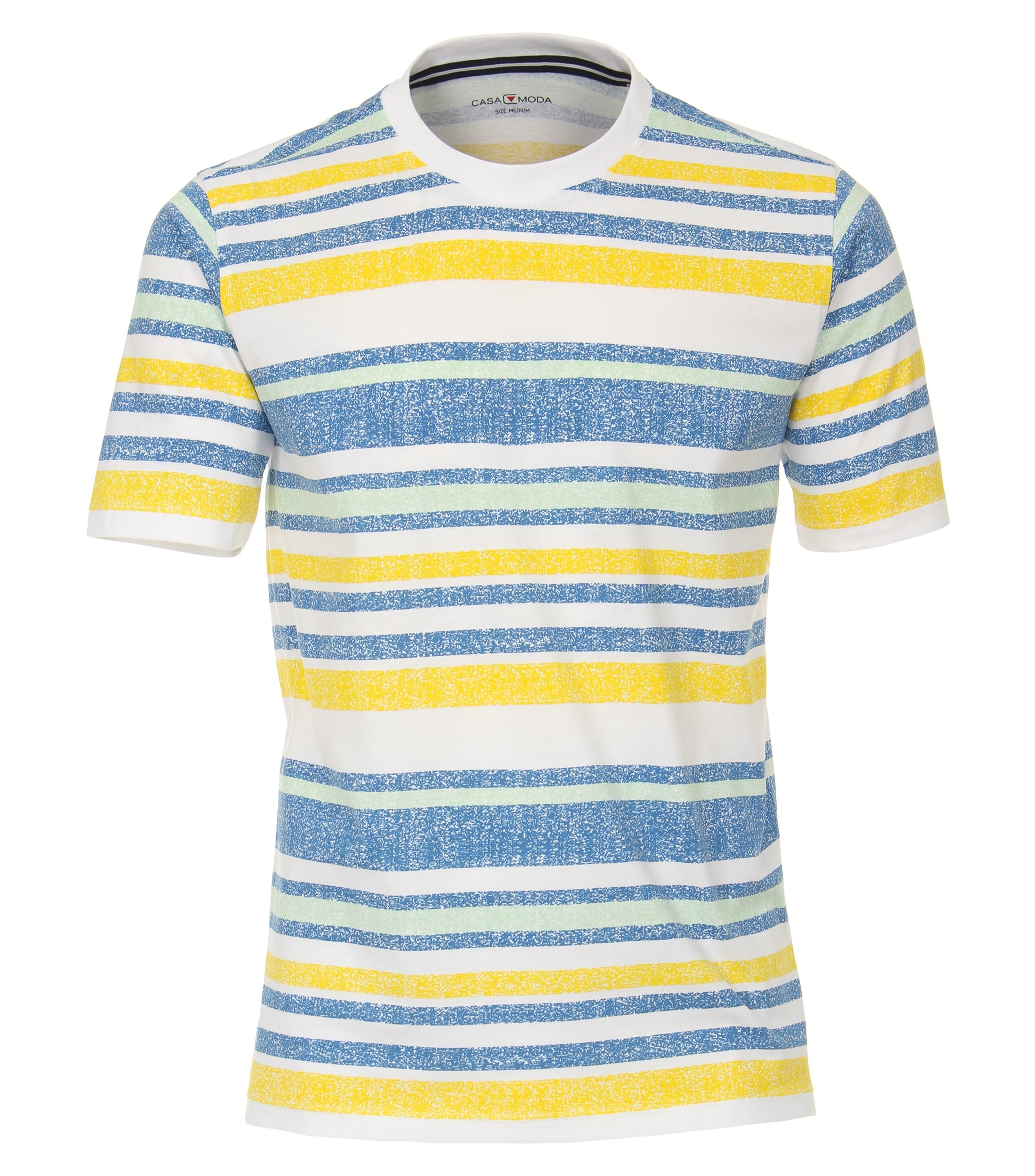 T-shirt van merk CASA MODA in de kleuren blauw, geel, groen en wit, gemaakt van 100% katoen. Dit T-shirt is gemaakt van puur katoen en is zeer comfortabel om te dragen. Het sportieve design met trendy print past perfect bij elke sportieve look en kan op vele manieren worden gecombineerd. Of het nu gaat om jeans, chino's of shorts, dit T-shirt kan veelzijdig gedragen worden en is een absolute musthave voor iedere garderobe.