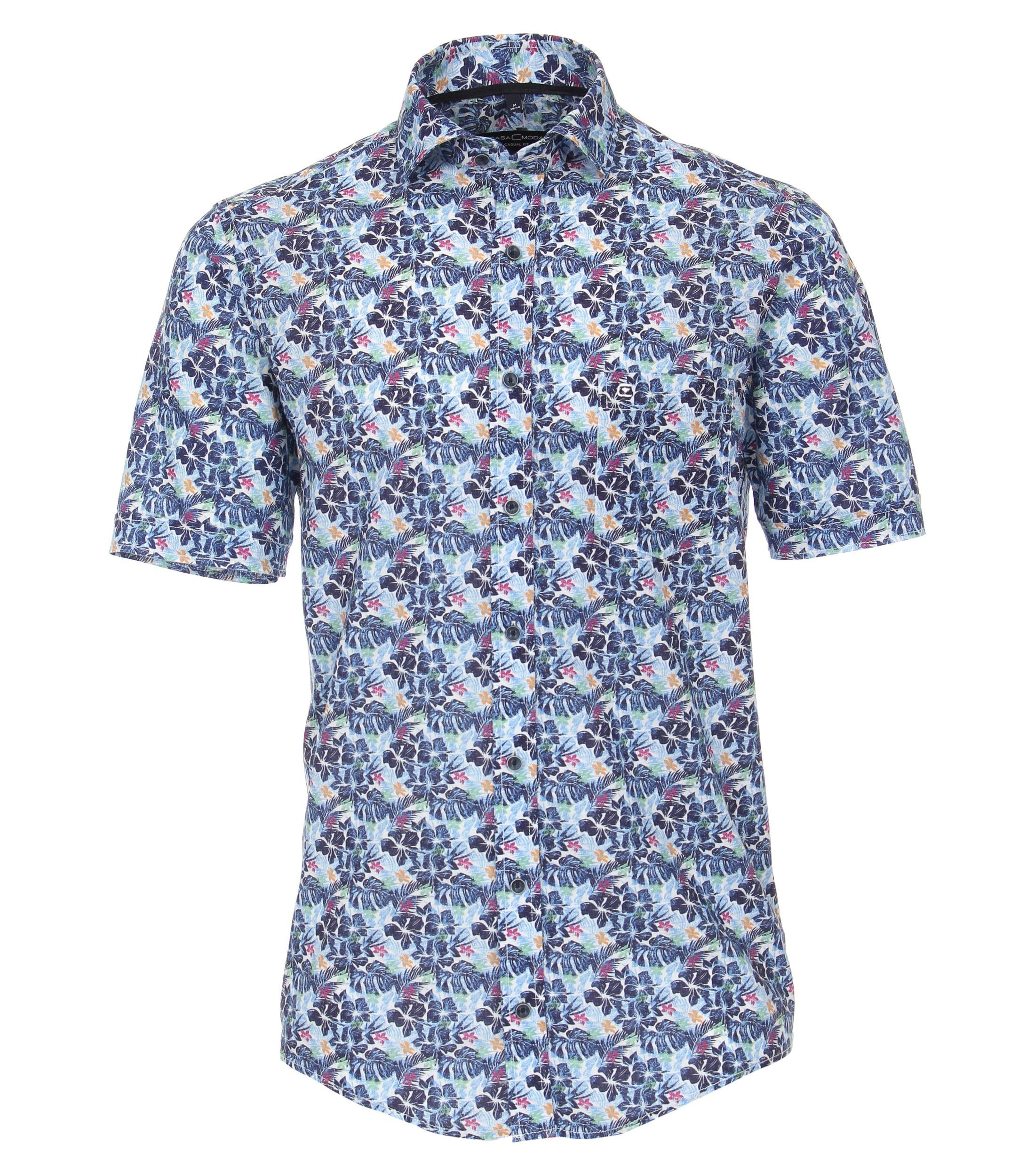 overhemd met print van merk CASA MODA in de kleur blauw, gemaakt van 70% katoen, 30% linnen. Dit modieuze vrijetijdsshirt scoort met een hoogwaardige linnen-katoenmix die zeer comfortabel is om te dragen. De bloemenprint is een echte blikvanger die elke outfit in de schijnwerpers zet. Met jeans of chino, met dit shirt wordt elke outfit een echte blikvanger.