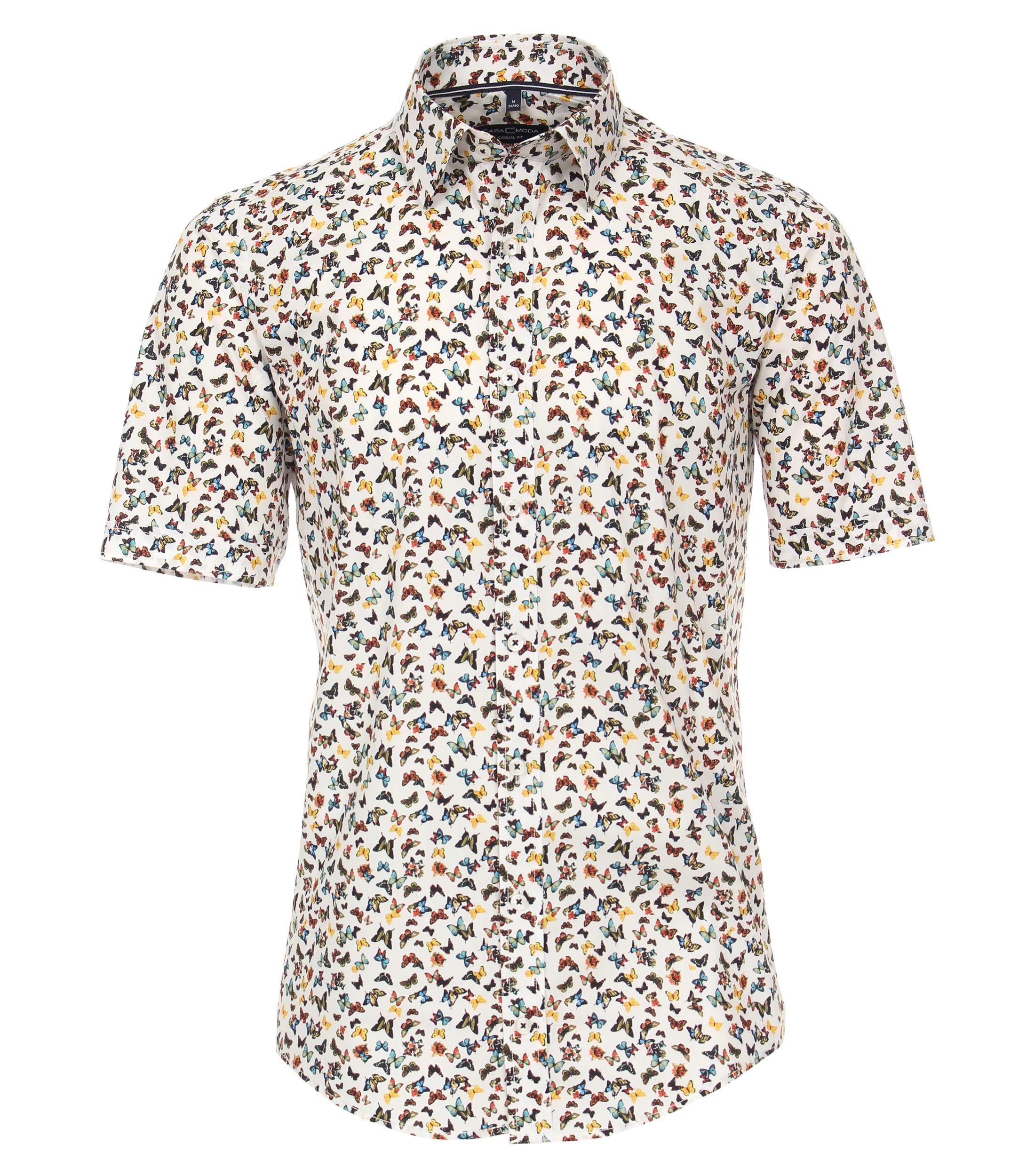 Overhemd van merk CASA MODA in de kleur wit, gemaakt van 100% katoen, met all over vlinder print. Het modieuze vrijetijdsshirt is gemaakt van puur katoen. De all-over print voegt modieuze accenten toe en betert stijlvol elke vrijetijdslook. Een echte must have voor de modebewuste man. Combineer met jeans of chino's, het overhemd is met elke outfit een echte eye catcher.