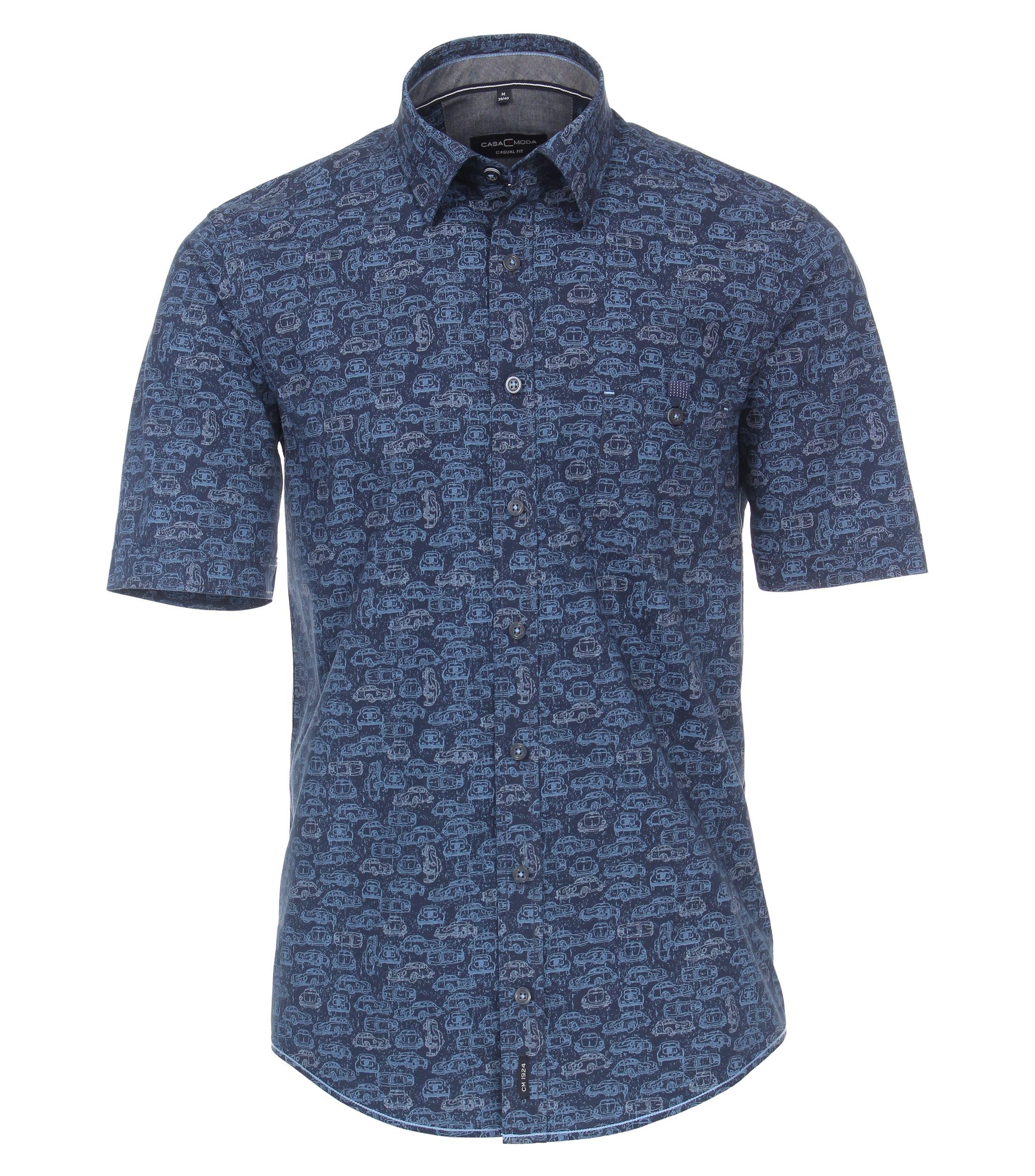 """Overhemd van merk CASA MODA in de kleur blauw, gemaakt van 100% katoen. Casa Moda """"Club"""" ; Casual fit van fine popeline cotton met een kent kraag. Superleuke """"all over"""" print met klassieke auto's."""